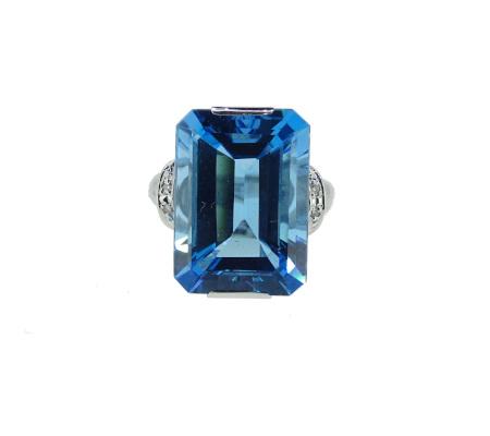 K18WGトパーズダイヤモンドリング9.25g9.08ct0.03ct画像