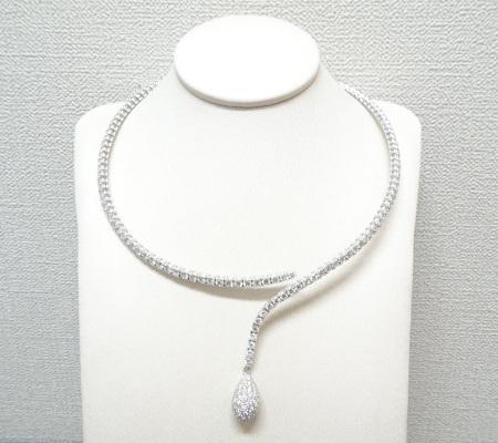 QUEENダイヤモンドネックレス K18WG 4.59ct画像