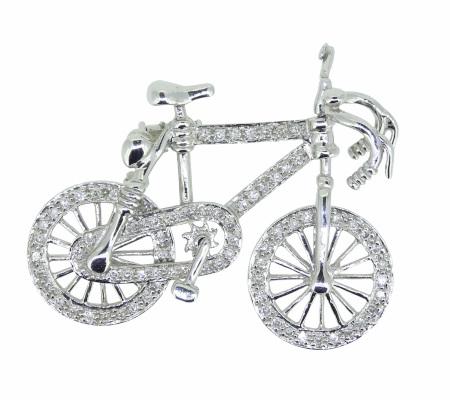 K18WG自転車ダイヤモンドブローチ Ⅾ0.52ct 7.16g画像
