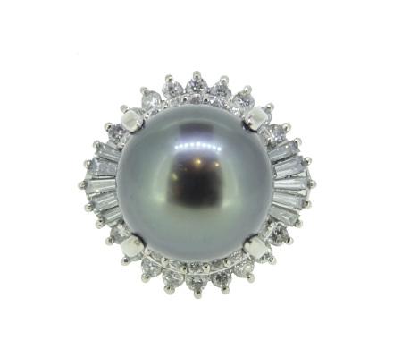 Pt900パールダイヤモンドリング Ⅾ0.96ct 13.26g画像