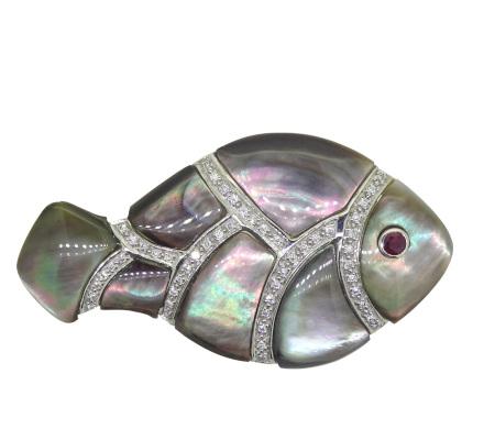 750シェル ルビー ダイヤモンドブローチ 9.17g画像